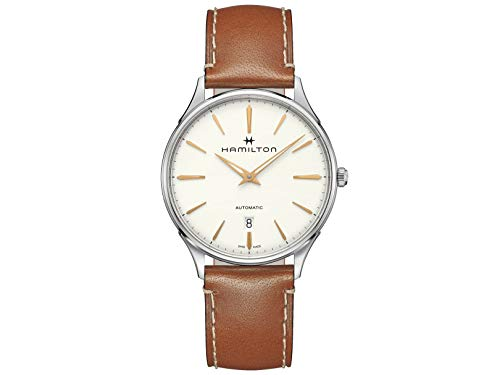 Hamilton H38525512 Jazzmaster Thinline orologio automatico da uomo in pelle...
