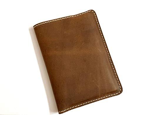 Reisepasshülle aus echtem Leder, handgefertigt, 14 x 10,2 cm, Braun