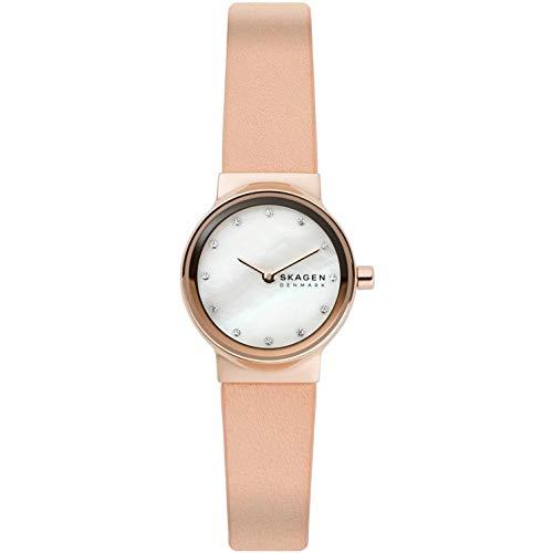 SKAGEN Freja - Orologio da donna in pelle rosa con due lancette + confezione di cinturini per orologio SKW1113