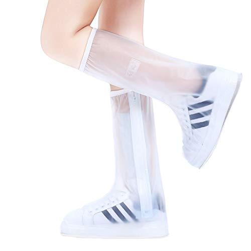 QZZQ Schuhüberzüge, wasserdichte Stiefelüberzüge rutschfeste, Wiederverwendbare Silikonüberschuhe Schneehöhe Regenschuhe Mit Reißverschluss Mann Frau (Size : XXXL)