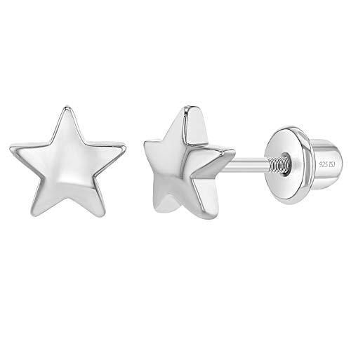 Orecchini in argento Sterling 925 con stella a vite da 6 mm, per bambine e bambine.