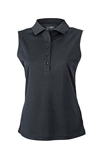 2Store24 Ladies' Active Polo Sleeveless in Black Size: XXL