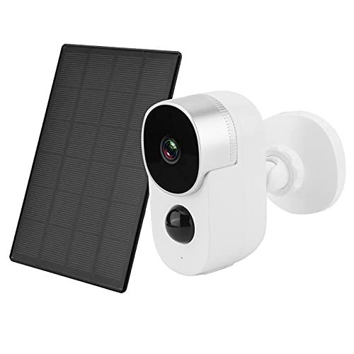 Cámara de seguridad inalámbrica para exteriores, WiFi Cámaras de vigilancia IP alimentadas por panel solar Detección de movimiento Visión nocturna Audio bidireccional IP65 Cámara impermeable