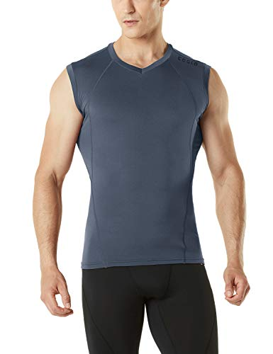 TSLA Men's Thermal V-Neck Sleeveless Workout Shirts, Athletic Running Compression Shirts, Winter Gear Tank Top, Thermal Sleeveless(yuv35) - Dark Grey, XX-Large