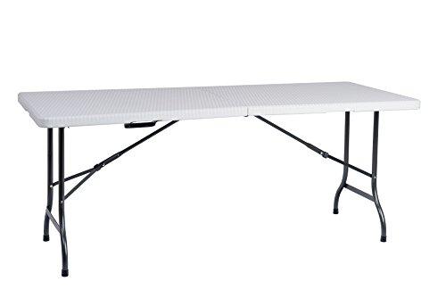 Resol Easy Rattan 180 Table Pliable, Blanc, 183 x 76 x 74 cm