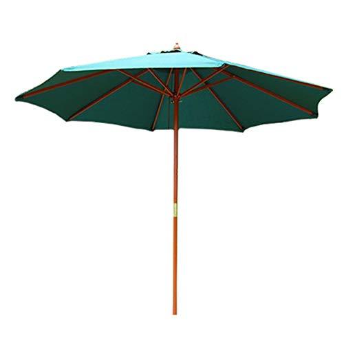 HYDT Grüne Sonnenschirme für Beach Porch Poolside, Kompakte Schwerlast Regenfester Schirm Tischschirm mit Holzpfahl, 270cm