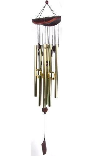 Carillon porte-bonheur chinois en alliage accordé de 70 cm avec cloches dorées pour chambre, jardin - Cadeau décoratif