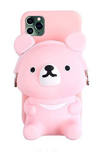iPhone 7 Plus 8 Plus 3D Cartoon Pocket Case, Pink Cute Bear Geldbörse Stand Holder, Squishy Soft Silikon Schutzhülle Phone Case für Mädchen Frauen, New iPhone 11 Pro Max