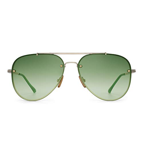 GLINDAR Retro Pilot Sonnenbrille Männer Frau Gradient UV 400 Schutz Linse Goldrahmen/Verlaufsgrünlinse