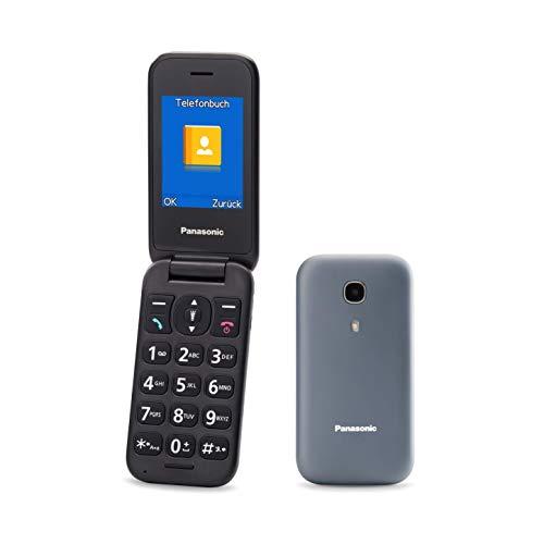 Panasonic KX-TU400EXG Seniorenhandy zum Aufklappen ohne Vertrag (SOS-Notruftaste, Taschenlampenfunktion, große getrennte Tasten, große Schrift & Nummernanzeige) grau