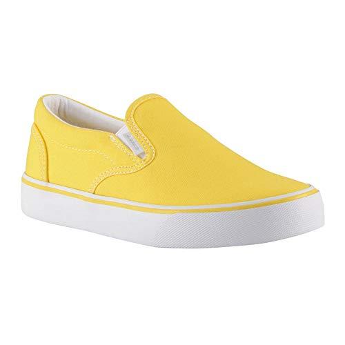 Lugz Women's Clipper 2 Classic Canvas Slip-on Sneaker, Yellow/White, 8