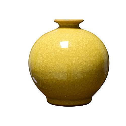XZJJZ Cerámica Arte jarrón hogar Chino Antiguo Horno de Porcelana Amarillo Granada Botella Sala de Estar decoración del Porche