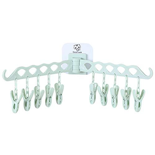 Colgadores para Ropa Percha Autoadhesivo de Pared Clip para Colgar Calcetines Trapo con 10 Clip Percha de Plastico per la Casa Cocina Baño (Verde, 48 * 14 cm)
