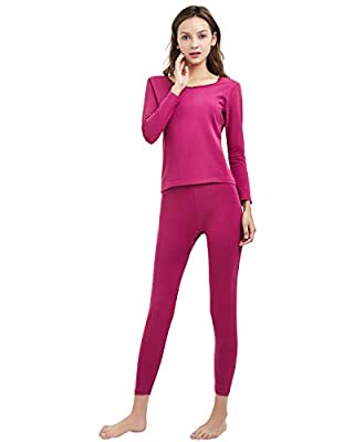 SANQIANG Women's Cotton Lace Crew Neck Thermal Underwear Set Lightweight Long Johns for Women Rose Red