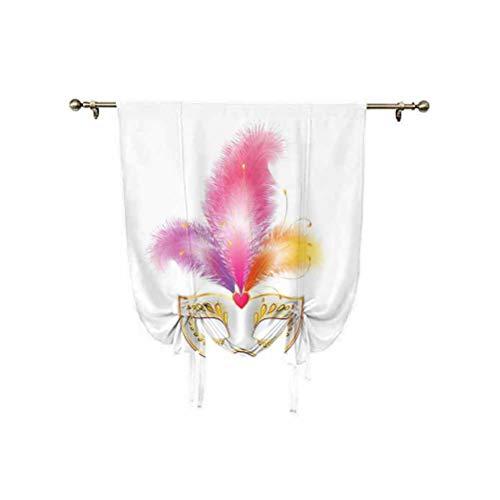 Parasol para ventana con lazo, color dorado para carnaval, con plumas, disfraz misterioso, estampado clsico, para ventana, 39 x 63 pulgadas, para ventana pequea, bolsillo para barra, multicolor