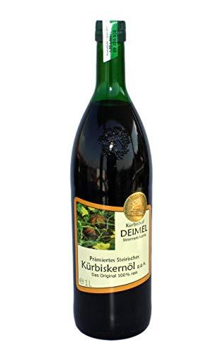 Kürbishof DEIMEL - Original Steirisches Kürbiskernöl g.g.A. - 1 L Flasche - Vom Kürbishof Kürbishof DEIMEL - Mit Herkunftsgarantie - Direkt vom Erzeuger - Jährlich prämiert