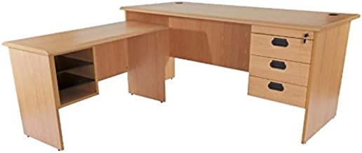 Mahmayi Bess L Office Desk with Fixed Drawers, Belgian Beech, 75 x 180 x 74 cm, BG180LHD