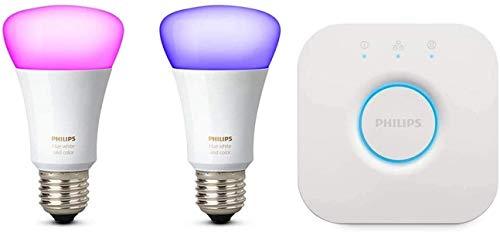 Philips Hue - Bombilla inteligente, E27, Puente Philips Hue incluido, Luz blanca y colores, Compatible con Alexa y Google Home - Pack de 2 Bombillas LED Inteligentes
