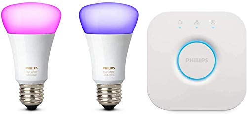Philips Hue Kit 2 Bombillas Inteligentes LED E27, 9.5 W y Puente, Luz Blanca y de Colores, Compatible con Alexa y Google Home