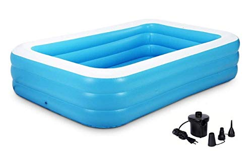 DISHIN SWAMEY 10ft Feet 3 Stripped Printed Inflatable Rectangle Bath Tub and Swimming Pool for Adults and Kids Spa with Pump