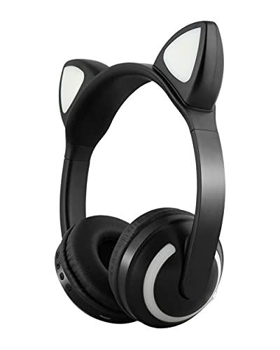 VIMI Audífonos Overear Diadema Orejas de Gato Conexión Vía Bluetooth Reproductor MP3 Luces LED con 7 Colores Intercambiables (Negro)