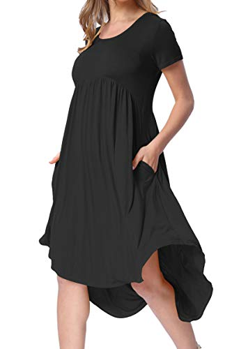 levaca Womens Summer Knit Short Sleeve Pockets Swing Casual Shift Dress Black M