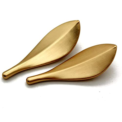 Gmjay Manopole per Armadietto in Ottone a Forma di Foglie d'oro Spazzolato Maniglia per Porta Decorativa per Cassetti, Armadi, Armadietti