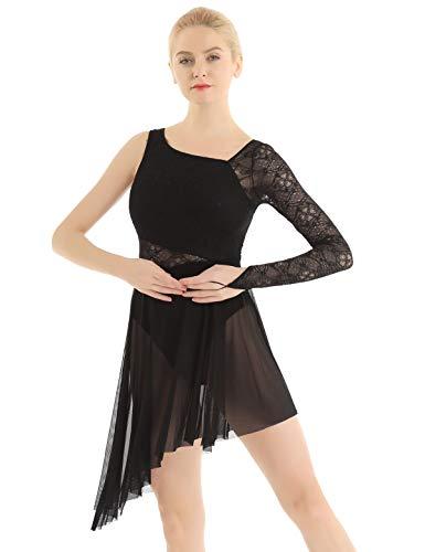 TiaoBug Vestito da Balletto Donna Body da Latino Jazz Samba Rumba Tango Salsa Danza Leotard Abito da Ballo Lirico Moderno Contemporaneo Monospalla Dancewear Nero M