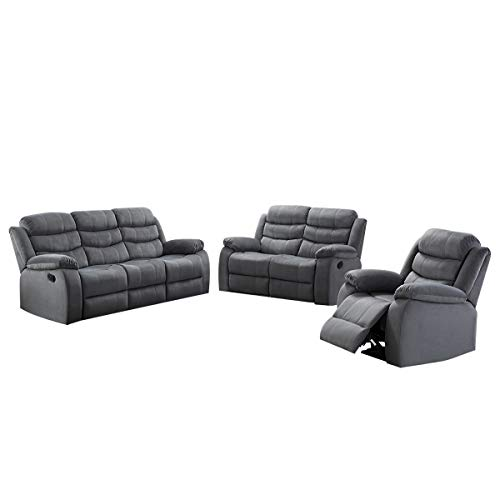 AC Pacific 3-Piece Reclining Living Room Upholstered Sofa, Set with 5, Loveseat & Reclining Chair, Grey