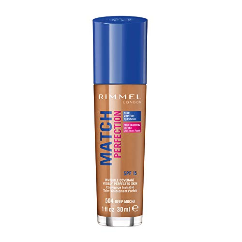 Rimmel - Fond de Teint Match Perfection - Couvrance légère - Hydratation 24h - 504 Deep Mocha - 30ml