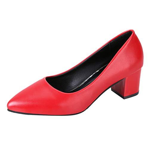 Klassischer Pumps Damen Basic Flandell Spitze Absatzschuhe Mittelhohem Blockabsatz Elegante Schuhe Frühling Sommer Sandalen Celucke (Rot, EU36)