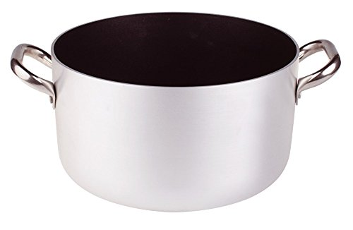 Pentole Agnelli, ALSA104S45, Casseruola Alta in Alluminio con 2 Maniglie in Acciaio, Alluminio Antiaderente interno 3mm, Diametro 45 cm