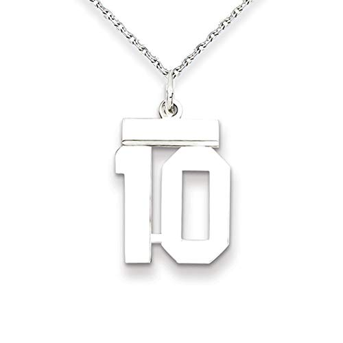 Athletic Sm Sterling Silver Number 10 Pendant Bundled With a 1.25mm 18 In. Sterling Silver Cable Chain