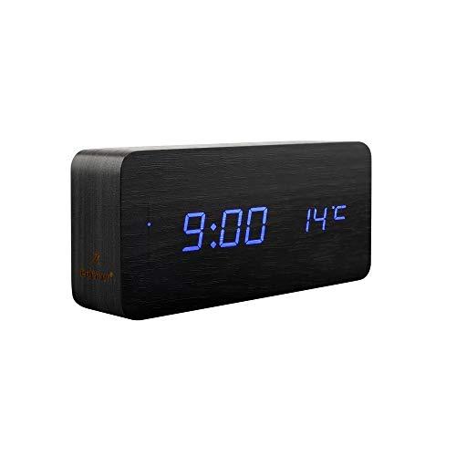 Redlemon Reloj Despertador Digital con Luz LED, Diseño Minimalista de Madera, Funciones de Alarma, Fecha y Hora, Temperatura, Actívalo con un Aplauso, Sensor de Sonido, Funciona Vía USB o Baterías