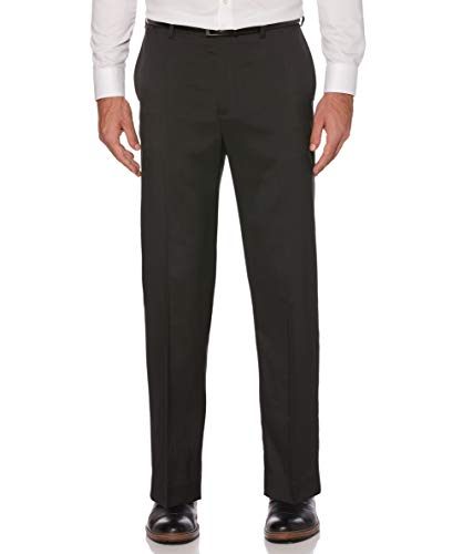 Savane Men's Flat Front Stretch Crosshatch Dress Pant, Black, 40W x 34L