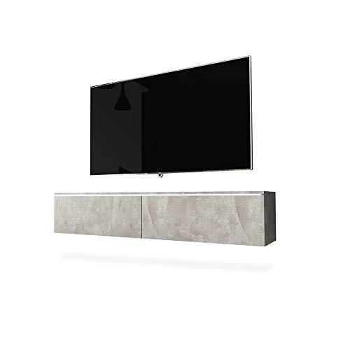 SELSEY Mobile sospeso per TV, Aspetto Calcestruzzo Opaco, 140 cm