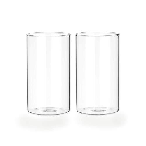 Tuuters.de 2er Set Windlichtgläser für Drinnen und Draußen | Aus Borosilikat-Glas ✓ Ideal zum Verzieren ✓ (105 x Ø 65 mm, Mit Boden)