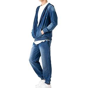[スリーピングシープ] 爽やか サーファー 気分 柔らか ストレッチ ニットデニム セットアップ メンズ パーカー トレーナー ジョガーパンツ スウェット パンツ カットデニム スキニー (ネイビー(上下セット), XL)