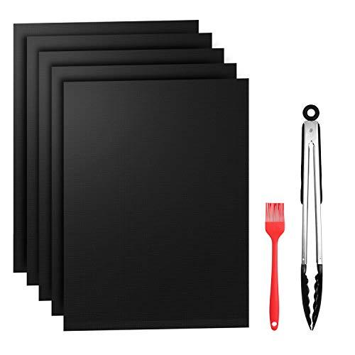 Grillmatte 5er Set BBQ Antihaft Grill-und Backmatte wiederverwendbar PFOA-frei FDA 500°F für BBQ Kohlegrill holzkohlegrill Holzkohle Gasgrill Elektro Grill and Backofen (Matte)