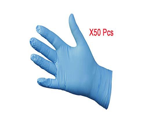 Guantes Desechables sin Hojas 50 Piezas Guantes de Goma de látex de nitrilo, Cocina de baño en casa, protección Anti-Virus Anti-bacteriana Ambiental (Azul-S)
