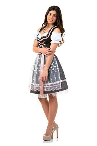 Trachtl.de Dirndl Trachtenkleid Damen Sarah IN SCHWARZ 3.TLG 42