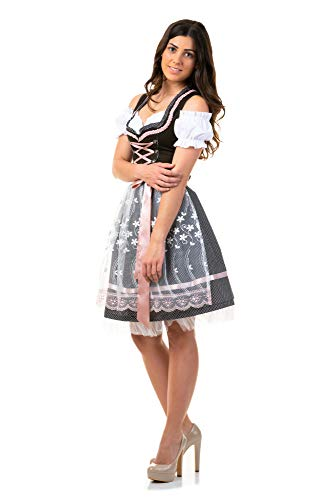 Trachtl.de Dirndl Trachtenkleid Damen Sarah IN SCHWARZ 3.TLG 36