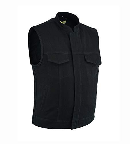 Leatherick Chaleco de hombre con ribete de cuero y denim pesado estilo motero con bolsillos profundos, estilo SOA