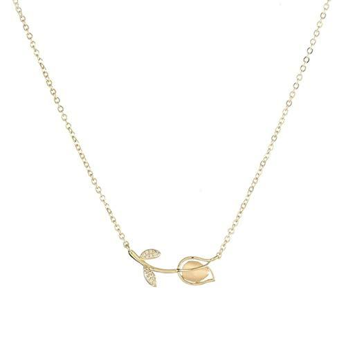 CBVG Collar de corazón Chapado en Oro Mujer, Collares de Boda de circonita con Micro Incrustaciones de Lujo y deslumbrantes Simples