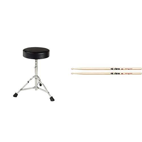 XDrum Schlagzeughocker Semi (Höhenverstellbar 50-64cm, drei Standbeine mit Gummifüßen, zusammenklappbar) & Vic Firth 5A American Hickory Wood Tip Drumsticks