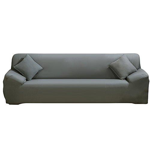 ele ELEOPTION Sofa Überwürfe Sofabezug Stretch elastische Sofahusse Sofa Abdeckung in Verschiedene Größe und Farbe Herstellergröße 235-300cm (Grau, 4 Sitzer für Sofalänge 220-300cm)