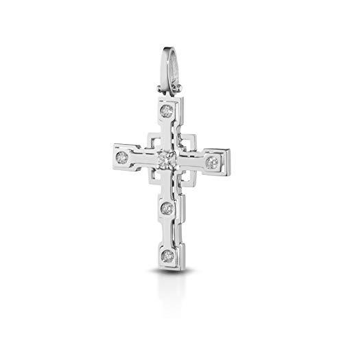DE GIORGIO GIOIELLERIA Croce Battesimo O da Uomo Oro Bianco E Diamanti CT 0.13 Ciondolo Uomo Oro E Diamanti