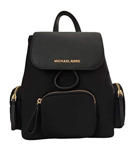 Michael Kors Abbey Medium Cargo Nylon Drawstring Backpack Bag Black