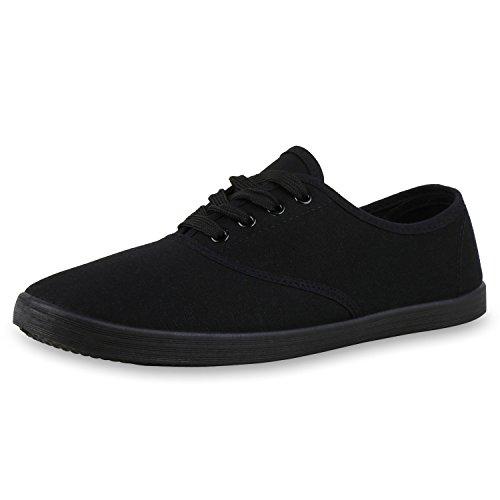 SCARPE VITA Flache Bequeme Basic Herren Sneakers Low Helle Sohle 165262 Black Schwarz Total 38