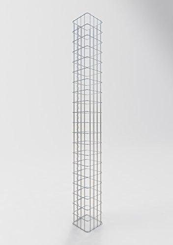 GABIONA befüllbare Steinkörbe Säulen Gabione eckig I Drahtkörbe für Steine zur Gartengestaltung Maschenw. 5x10cm I 4mm Gabionenkörbe galvanisch verzink I Steinkorb Säule 200cm hoch 22 x 22 cm